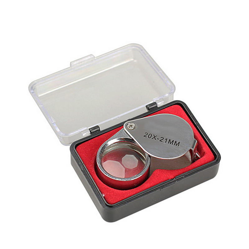 Loupe Magnifier Magnifying Triplet Jewelers Eye Glass Jewelry Diamond with Ultraviolet LED Light 20X-21 mm