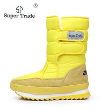 Новинка 2017 года зимняя утепленная женская Обувь Снегоступы теплая обувь женская Сапоги и ботинки для девочек скольжению Водонепроницаемый Сапоги и ботинки для девочек Теплые Каблучки Обувь