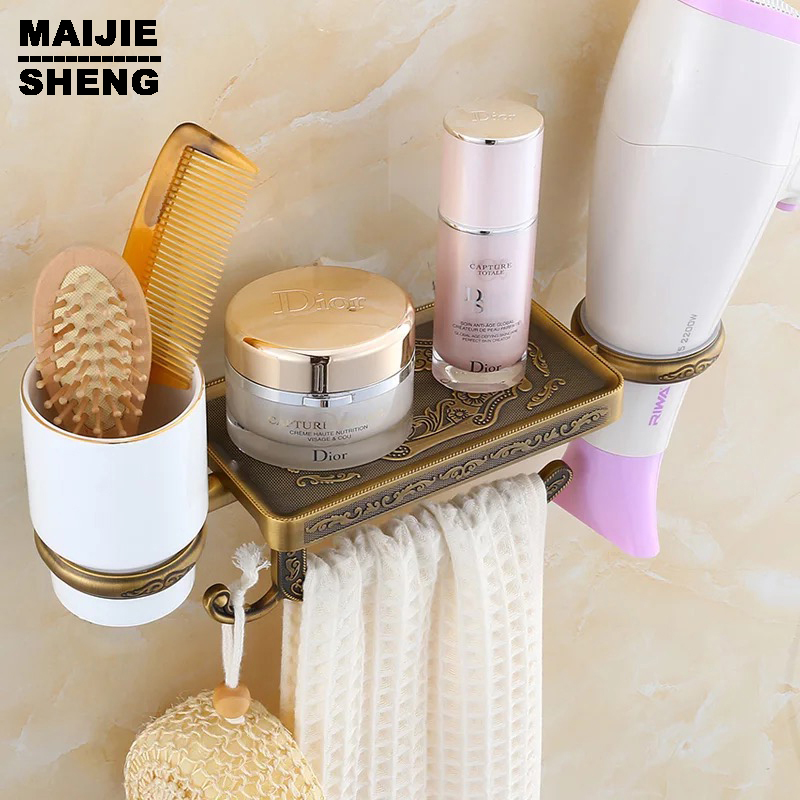 Mobile phones towel rack toilet paper holder tissue boxes shelf Antique bathroom paper phone holder with blower shelf bathroom hot sale wholesale and retail promotion antique brass bathroom toilet paper holder ceramic tissue basket shelf holder