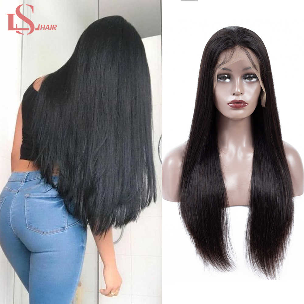 Brazilian 13x4 Lace Front Human Hair Wigs For Women Remy Hair Straight Lace Front Wigs With Baby Hair Full End Natural Black LS