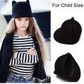 100% шерсть девушки фетровую шляпу зима черный рогами дьявола милый кот уха животных дерби боулер прекрасный колпачок для Childrend подарок