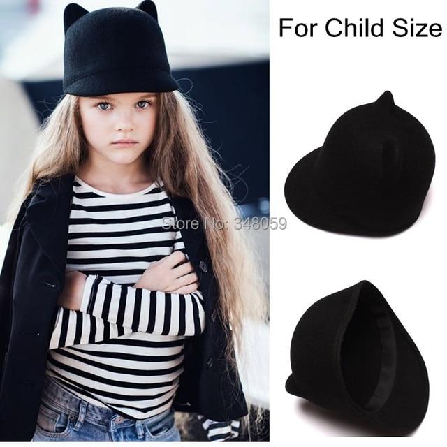 552e313dc7248a 100% Wool Girls Fedora Hat Winter Black Devil Horns Cute Cat ear animal  Derby Bowler lovely Cap for Childrend Gift