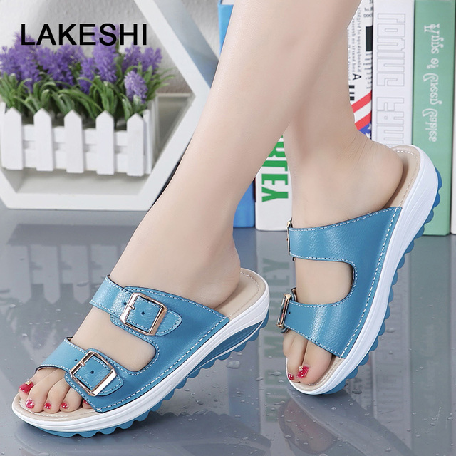 1477bb8b3bd LAKESHI Women Slippers Fashion Women Flip Flops Soft Bottom Slides Summer  Beach Shoes Buckle Ladies Shoes Flat Slippers 8 Colors-in Slippers from  Shoes on ...