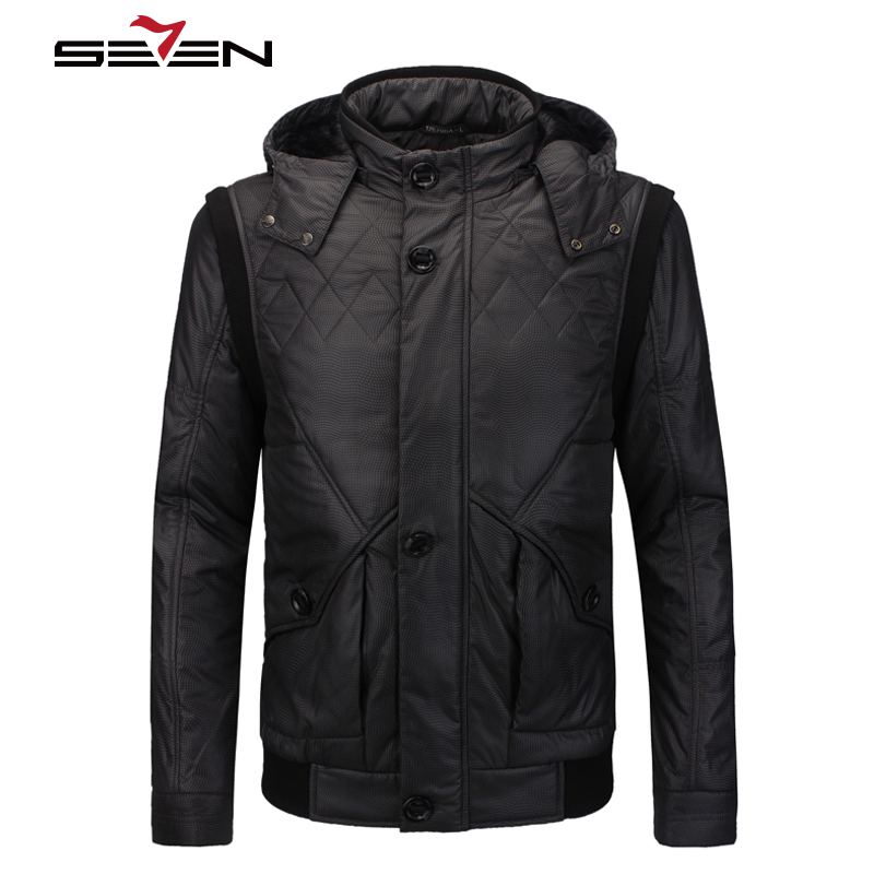 Seven7 Brand 2016 Winter Down Men Cotton Coat Warm Men Clothing Silver Long Sleeve Men Pocket Slim Thick Down 703K2213