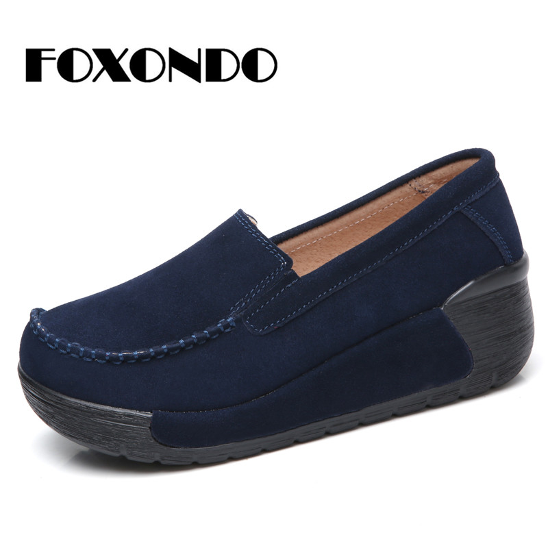 FOXONDO 2018 Autumn women   leather     suede   flat shoes women platform sneakers shoes woman slip on flats moccasins shoes creepers558