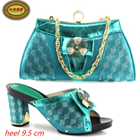 YH12 Green Latest Gold African Woman Pumps And Bag Set Beautiful Adult High Heels Lady Shoes