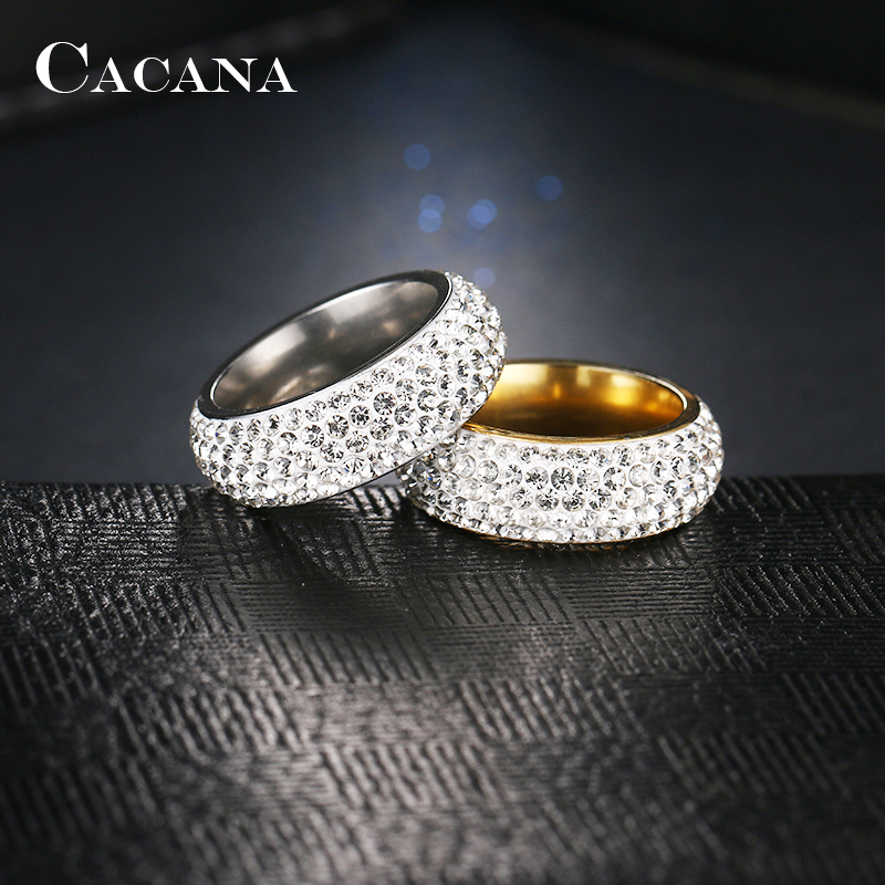 CACANA Stainless Steel Rings For Women Cubic Zirconia Wedding Ring Fashion Jewelry Wholesale NO.R192 193 6