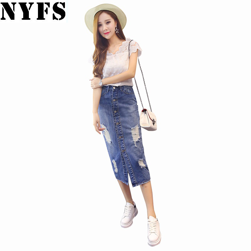 2018 Spring Summer Autumn fashion women long denim skirt ...