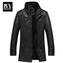 BNY 2016 Man Clothing Men's Leather Jacket In The Long Section of Washing Cashmere Windbreaker Leather Trade Locomotive
