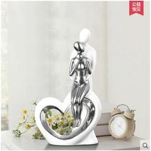 цена на white ceramic creative heart lovers home decor crafts room decoration ornaments porcelain figurines wedding decoration gift
