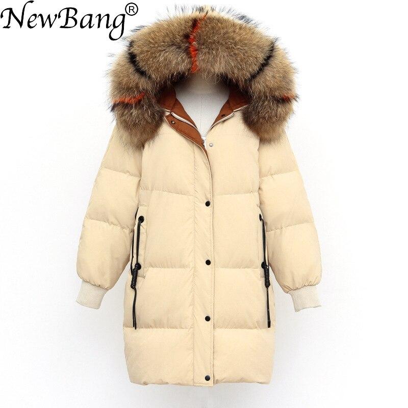 NewBang Brand Winter   Down     Coat   Women Windproof Parkas Real Raccoon Fur Collar Long   Down   Jacket Outwear Thick Warm Puffer Jackets