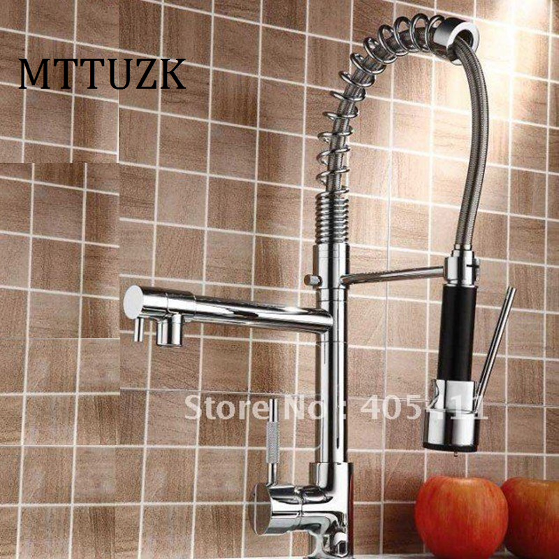 MTTUZK Factory direct sale pull out kitchen faucet Solid Brass Thicken Chrome Spring faucets 2 Spouts
