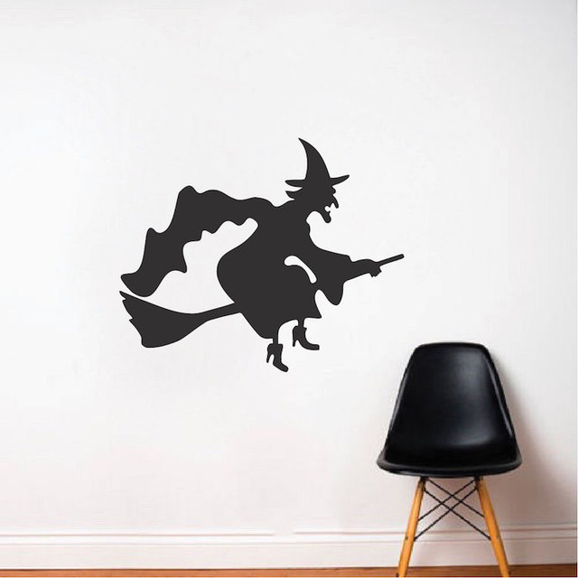 halloween wall sticker decal vinyl flying witch wall stickers home decor living room door window decorate