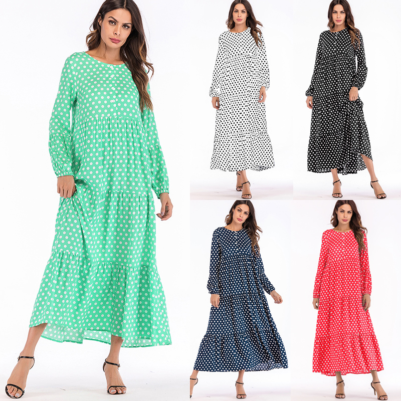 Korean Fashion Polka Dot Print Vintage Dress Women Maxi Long Dress Ruffle Long Sleeve Gowns Beach Boho Dresses Plus Size 5XL 3XL in Dresses from Women 39 s Clothing