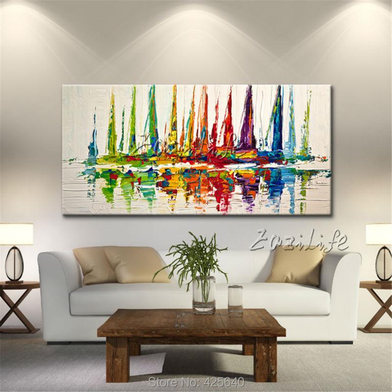 Plátno olejomalba člun plachtění akrylové malby Nástěnné - Dekorace interiéru