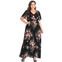 Woman Plus Size Floral Printing Maxi Dress Chic Ruffles Long Dresses Retro Elastic Waist Vestidos Big Size Cloak Sleeve Clothing