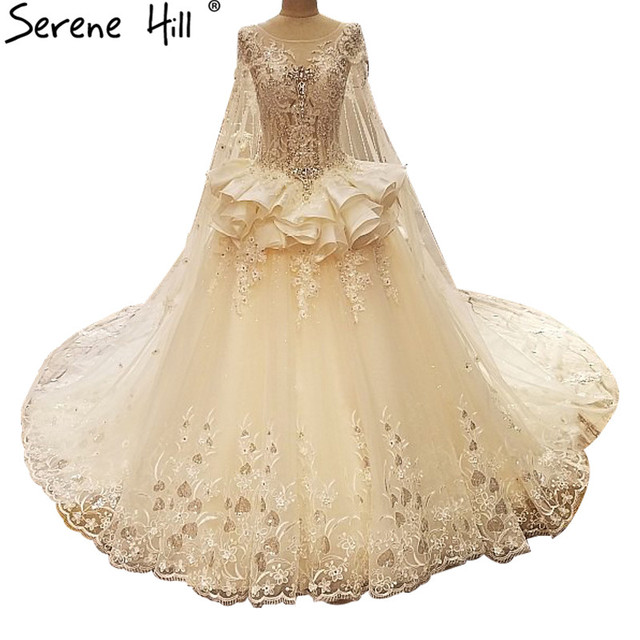 Lace train princess wedding dresses pearls diamond newest for Wedding dresses with pearls and diamonds