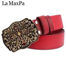 Red belt Women leather belts cross pattern buckle genuine leather lady belt vintage arabesque flower girdle women birthday gift vintage women genuine leather handbags 100