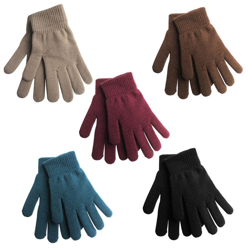 Women Men Unisex Winter Ribbed Knitted Full Fingered Gloves Basic Solid Color Thicken Plush Lining Mittens Magic Thermal Wrist W