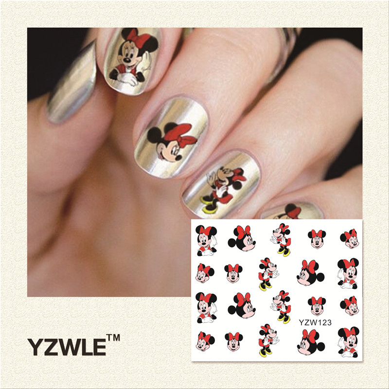 YZWLE 1Pcs Nail Art Water Sticker Nails Beauty Wraps Foil Polish Decals Temporary Tattoos Watermark(YZW123) 10pcs water transfer nail wraps temporary tattoos watermark nail sticker tools