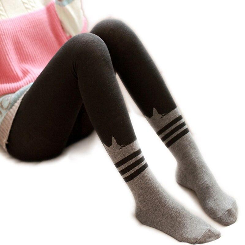 2018 Fashion Autumn Winter Tights Cat Cartoon Pantyhose Stockings Thin Pantyhose Velvet Sweet Stripe Stitching Tights for Girls