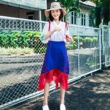 LYNETTE'S CHINOISERIE Violin peach preppy style braces skirt 2017 ruffle skirt national trend female bust skirt