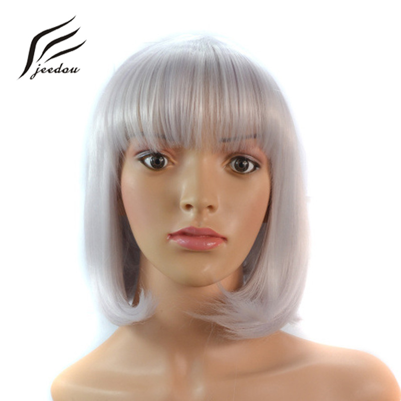 jeedou BobHaircut Straight Hair Wig Short Synthetic 180g Black Brown Silver Gray Color Bob Cosplay Wigs For Womens Office Lady