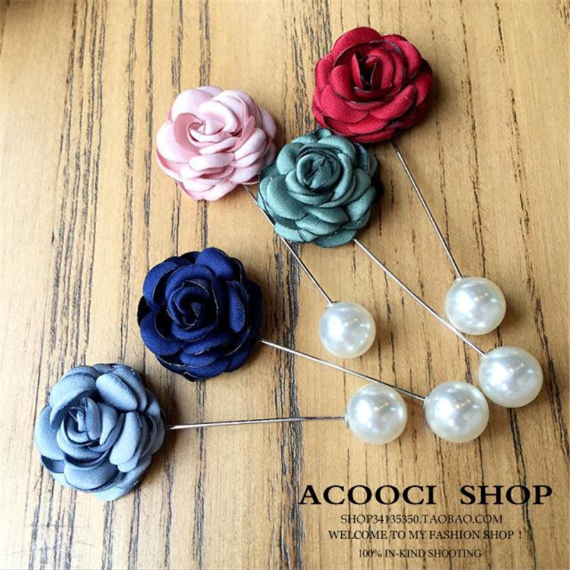 Korea Handmade Modern Flower Simulated Pearl Brooches Pins Badges Fashion Jewelry For Woman Suits Accessories-YHGWBH022F