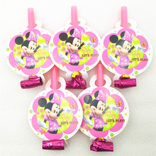 6pcs/bag Minnie Mouse Party Supplies Blowout Trumpet Horns Kids Baby Shower Decoration Birthday