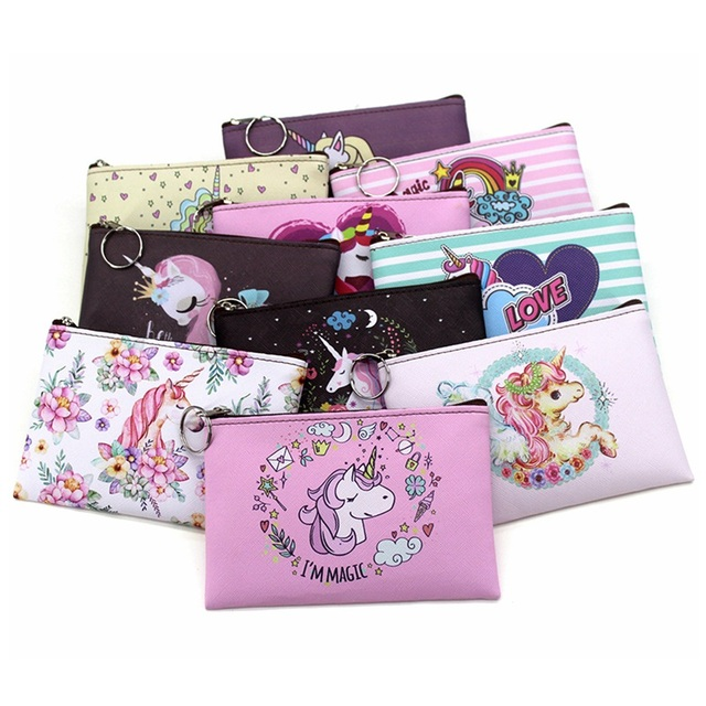 Cartoon Unicorn Coin Purses Women Mini Wallets Cute Card Holder Ladies Key Money Bags For Girls Purse Female Kids Children Pouch
