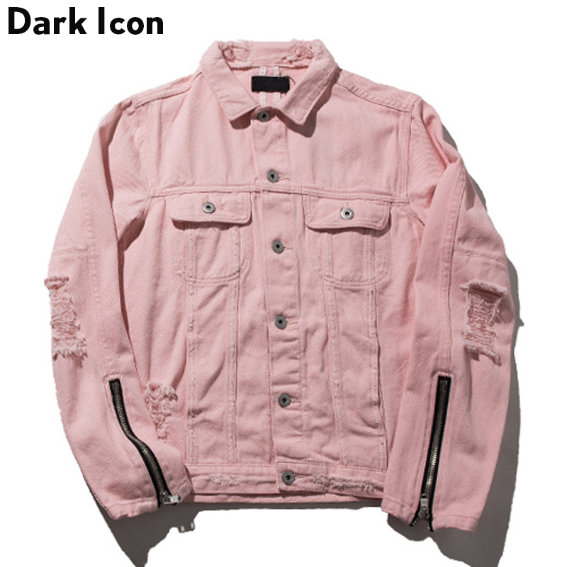 Zipper on Sleeve Destroyed Denim Jacket Men 2017 Autumn Turn-down Collar Hip Hop Jackets Pink Jackets Women