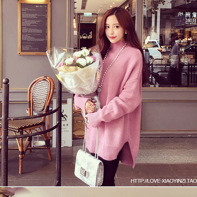 2016 autumn winter sweater women high neck pullover feminine pull femme  loose large size tutleneck bottoming 8eb4788d0