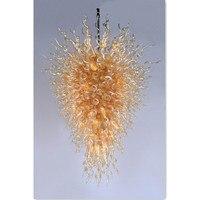 Splendid Golden Blown Glass Chandeliers LED Bulbs Ground Floor Lamps