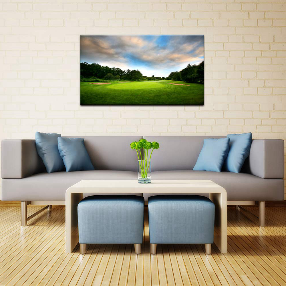 Golf Course Landscape Paintings Print on Canvas Green Lawn Contemporary Wall Art Giclee Artwork HD Print Gym Lobby Wall Decor