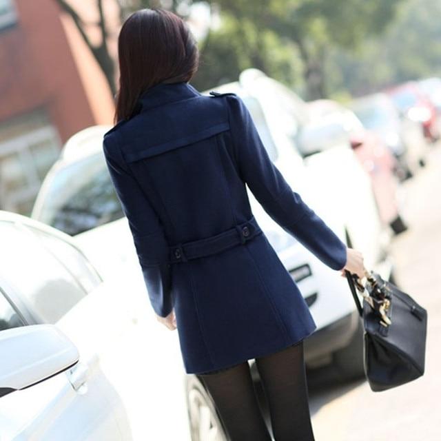 UHYTGF Fashion Winter Jacket Women's Double Breasted Short Wool coat Solid Color Korean Slim Female Woolen Jacket Plus Size 1150 5