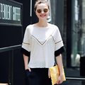 Fashion Women Blouses O-Neck Short Sleeve Patchwork Slash Neck Plus Size Vintage Womens Clothing Summer Tops