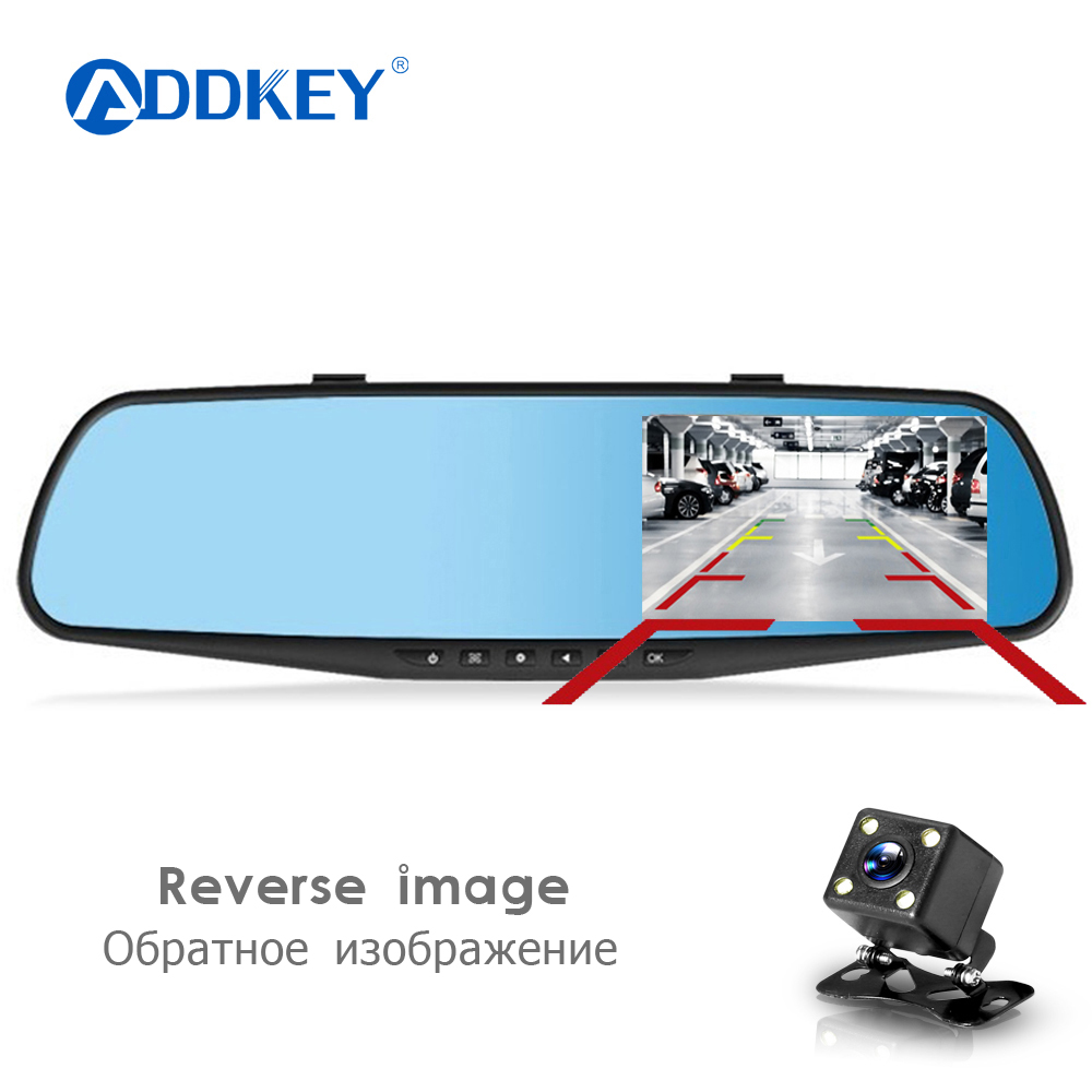 ADDKEY Night Vision Car Dvr Camera Rearview Mirror Digital Video Recorder  Auto Camcorder Dash Cam FHD 1080P dual len Registrator