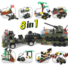 8 in 1 Military Building Blocks Army Soldiers Figures Special Police Armored Vehicle Tank Military Learning Toys for Children new arrive 6 styles policemen soldiers military doll model toys for children learning playing christmas gift