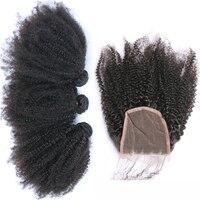 Афро странный фигурные 3 натуральные волосы Связки с закрытием 4x4 монгольский Девы наращивания волос на сетчатой основе бесплатная часть пр