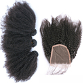 Afro Kinky Curly 3 Human Hair Bundles With Closure 4x4 Mongolian Remy Hair Extension With Lace Closures Free Part Prosa