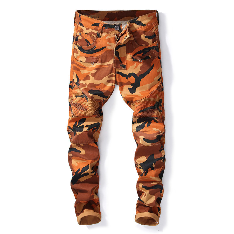 ca0eeea6c93 New Mens orange Camouflage Jeans Motocycle Military Camo jeans brand  Designer hip hop Biker Jeans Patchwork