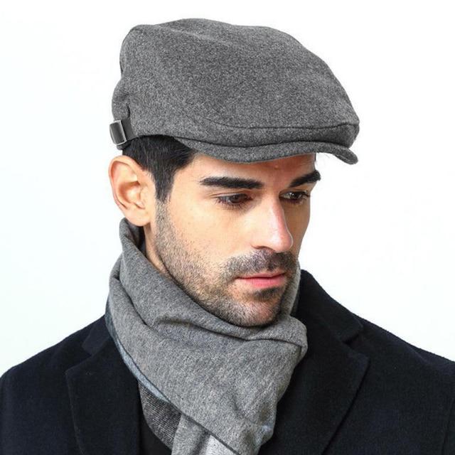 Fashion Brand Mens Flat Cap Men Beret Woolen Vintage Gatsby Baker Hat Boy  Cabblie Premium Quality Spring Winter Beret 2018 863fdb57e7b