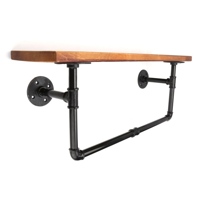 Rustic Antique Style Bathroom Shelf Industrial Style Metal Pipe Wood ...