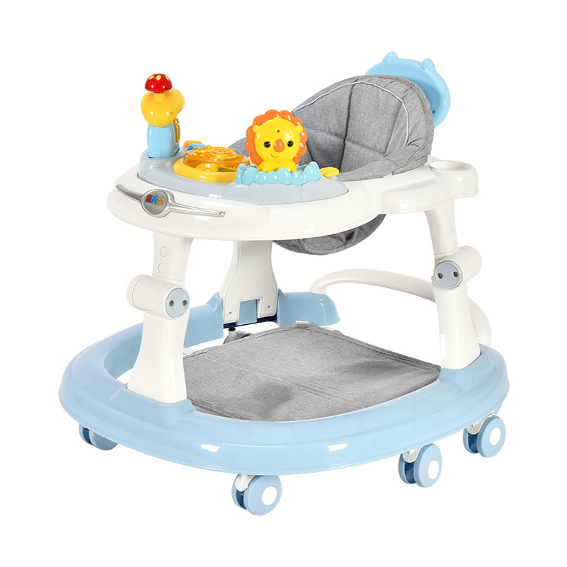 Baby Walker With 6 Mute Rotating Wheels Anti Rollover Multi-functional Child Walker Seat Walking Aid Assistant Walker Toy0-18M