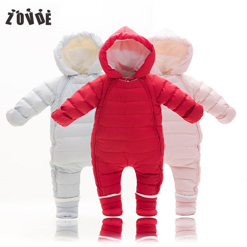 Newborn Baby Rompers Infant Baby Boys Girls Duck Down Romper Winter Warm Hoodied Down Jumpsuit Little Boy Outfits Clothes цена