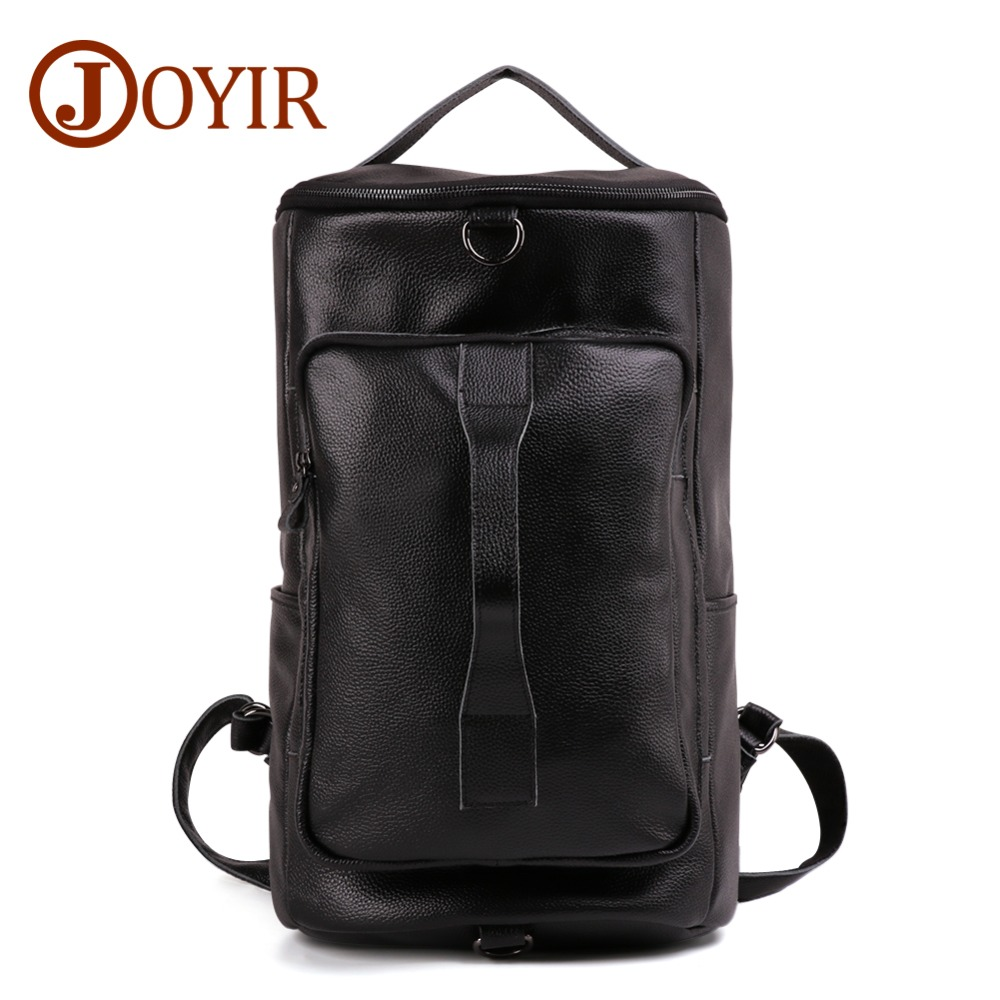 JOYIR Genuine Leather Men Backpack Multi function Fashion Men Travel Bag Men Large capacity Outdoor Mountaineering
