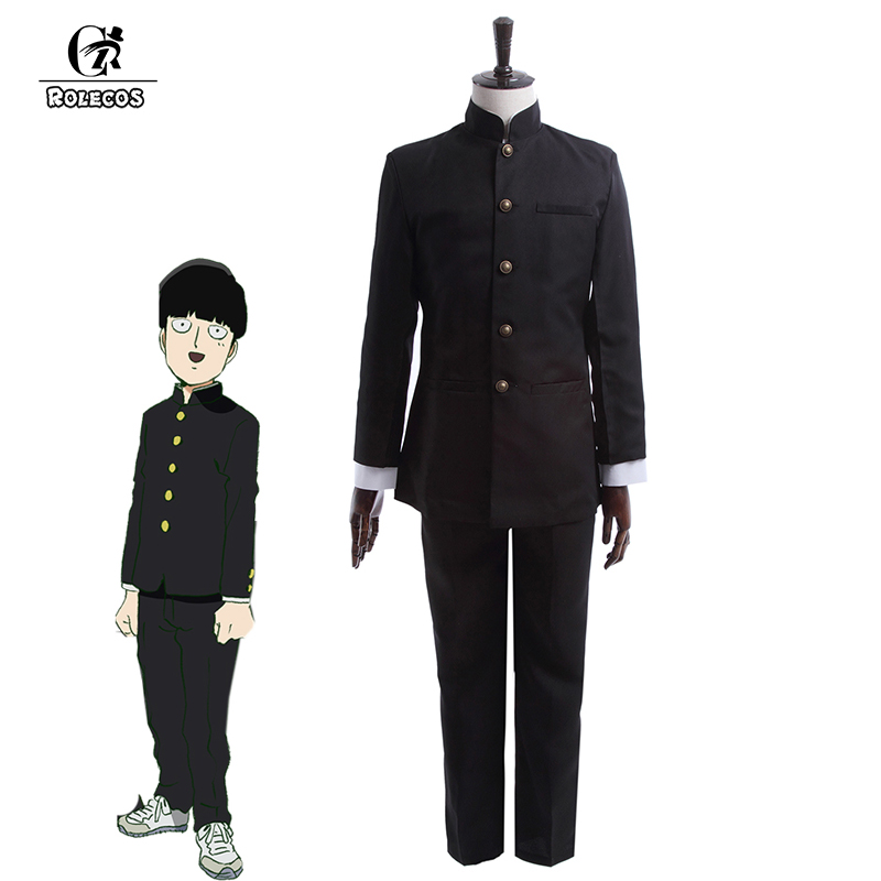 ROLECOS Anime Mob Psycho 100 Costume Cosplay Kageyama Shigeo Costume Cosplay Giapponese School Boy Uniform Jacket Pants Set completo