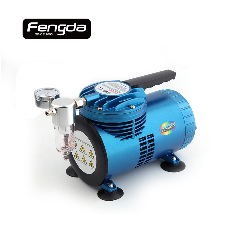 Fengda oil-free mini air compressor AS06-1 membrane type air pump body paint tattoo connect with airbrush spary gun tools air compressor o ring 1 2pt thread oil level sight glass