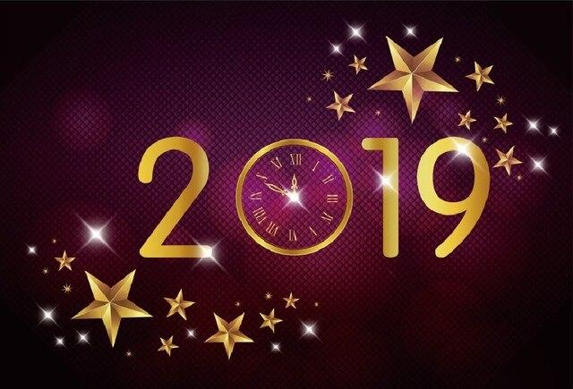 Laeacco New Year 2019 Diamond Wall Stars Clock Photography