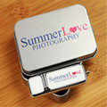 ODM Custom Logo Photography Lesther USB Flash Drive 2.0 Thumb Pendrive + Tin Box (over 50pcs free logo)